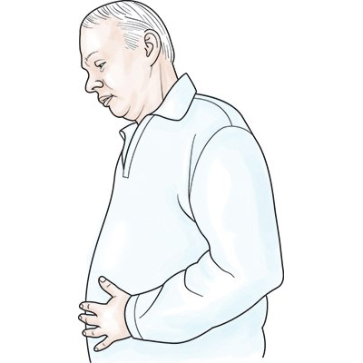 medical illustration of Illustration of a mature adult man holding his abdomen and looking nauseous. Nausea is a symptom of heart failure.