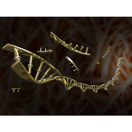 medical illustration of Stylized, metallic DNA strand and DNA fragments